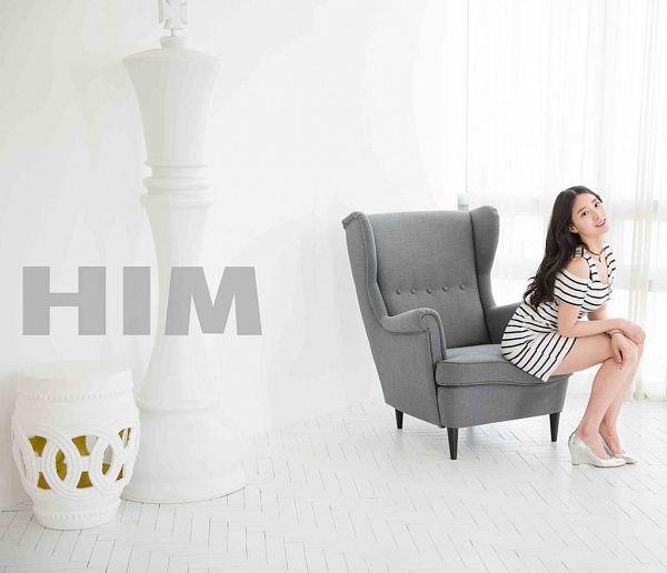 Tags: K-Pop, Berry Good, Johyun, Window, Striped Dress, High Heels, Armchair, Striped, Chair, Curtain, Him, Magazine Scan