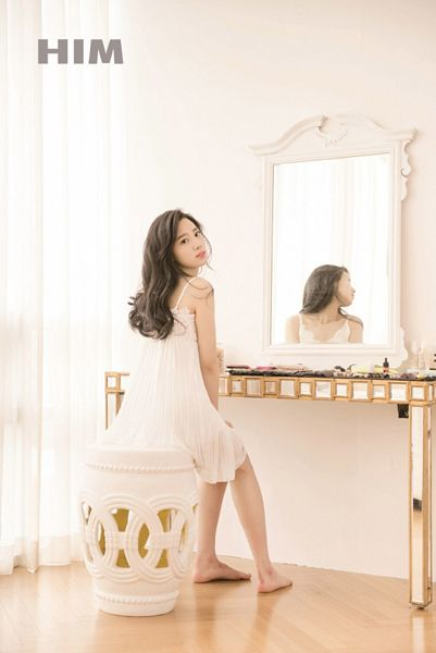 Tags: K-Pop, Berry Good, Johyun, Barefoot, Chair, Looking Back, White Dress, Bent Knees, Sitting On Chair, Black Eyes, Stool, Glass