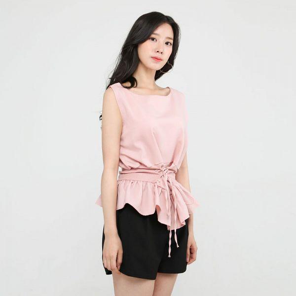 Tags: K-Pop, Berry Good, Johyun, Black Eyes, Shorts, Black Shorts, Pink Shirt, Simple Background, Gray Background, Standing, Sleeveless Shirt, Sleeveless