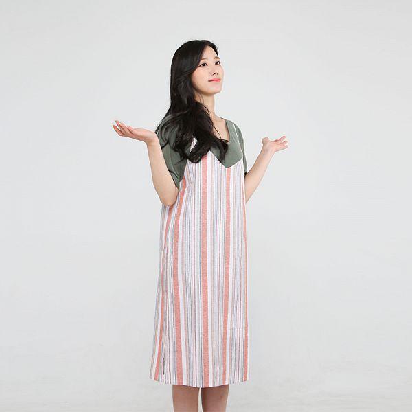 Tags: K-Pop, Berry Good, Johyun, Green Shirt, Gray Background, Simple Background, Dress, Striped Dress, Short Sleeves, Striped, Black Eyes, Aland