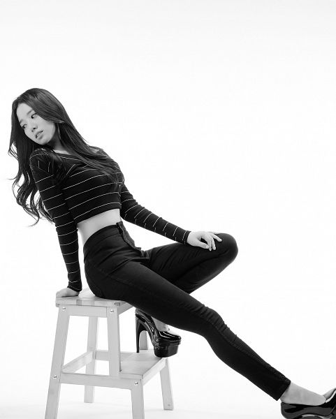 Tags: K-Pop, Berry Good, Johyun, High Heels, White Background, Chair, Striped Shirt, Stool, Striped, Looking Back, Sitting On Chair, Looking Down