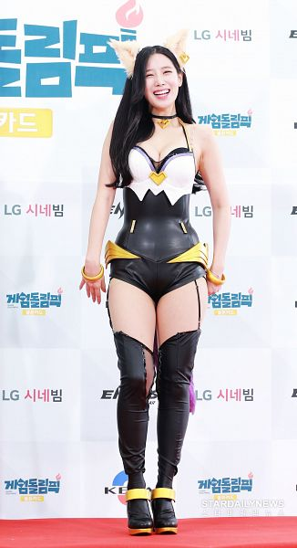 Tags: K-Pop, Berry Good, Johyun, Collarbone, Suggestive, Animal Ears, White Background, Korean Text, Bare Legs, Full Body, Black Legwear, Cleavage