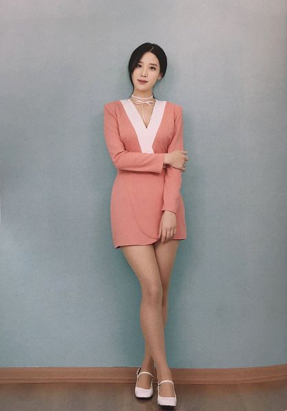Tags: K-Pop, Berry Good, Johyun, Pink Outfit, Hair Up, Ponytail, Crossed Legs (Standing), Black Eyes, Pink Dress, Blue Background, Choker, Fantastic