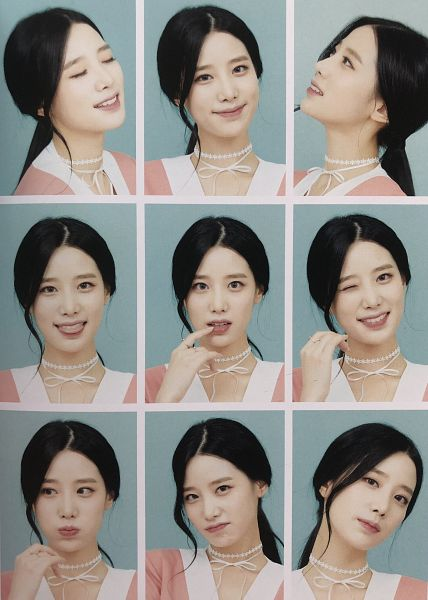 Tags: K-Pop, Berry Good, Johyun, Choker, Grin, Tongue, Blue Background, Wink, Pink Outfit, Eyes Closed, Multiple Persona, Hair Up