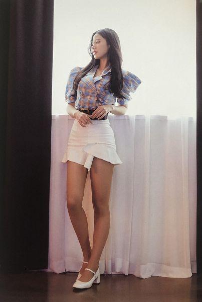 Tags: K-Pop, Berry Good, Johyun, Ring, Plaided Print, Black Eyes, Looking Away, Window, Plaided Shirt, Belt, White Footwear, Blue Shirt