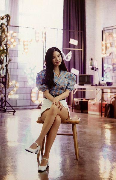 Tags: K-Pop, Berry Good, Johyun, Blue Shirt, Skirt, White Footwear, Plaided Shirt, Chair, Crossed Legs, Ring, White Skirt, Sitting On Chair