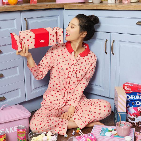 Tags: K-Pop, Berry Good, Johyun, Marshmallow, Food, Red Pants, Hair Buns, Kitchen, Single Bun, Hair Up, Cereal, Barefoot