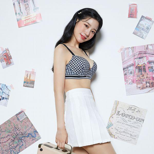 Tags: K-Pop, Berry Good, Johyun, Bra, Hair Clip, Light Background, Bare Legs, Skirt, White Background, Head Tilt, Suggestive, Hair Ornament