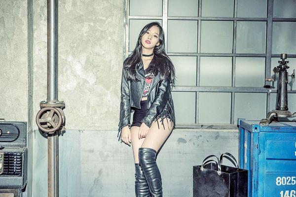 Tags: K-Pop, Berry Good, Johyun, Black Eyes, Leather Jacket, Choker, Black Shorts, Midriff, Red Lips, Black Jacket, Shorts, Black Outerwear