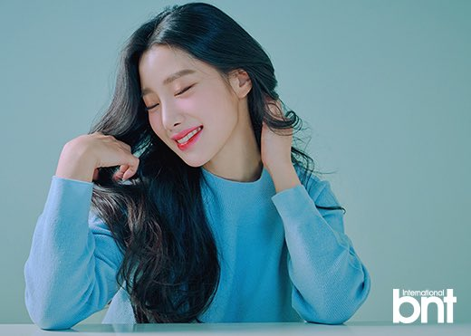 Tags: K-Pop, Berry Good, Johyun, Blue Shirt, Grin, Red Lips, Eyes Closed, International Bnt, Magazine Scan
