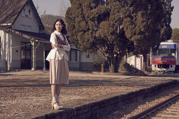 Tags: K-Drama, Joo Da-young, Medium Hair, House, Plant, Socks, Train, Vest, High Heels, Brown Skirt, Railroad Tracks, Tree