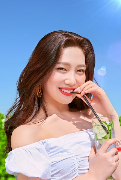 Tags: K-Pop, Red Velvet, Joy, Straw, Red Lips, Sleeveless, Bare Shoulders, Make Up, Drinks, Water, Outdoors, Drinking
