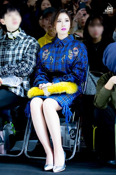 Tags: K-Pop, Secret, Jun Hyoseong, High Heels, Bare Legs, Hair Up, Checkered, Chair, Checkered Dress, Full Body, Silver Footwear, Blue Dress