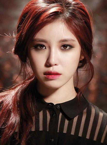 Tags: K-Pop, Secret, Jun Hyoseong, Red Hair, Brown Background