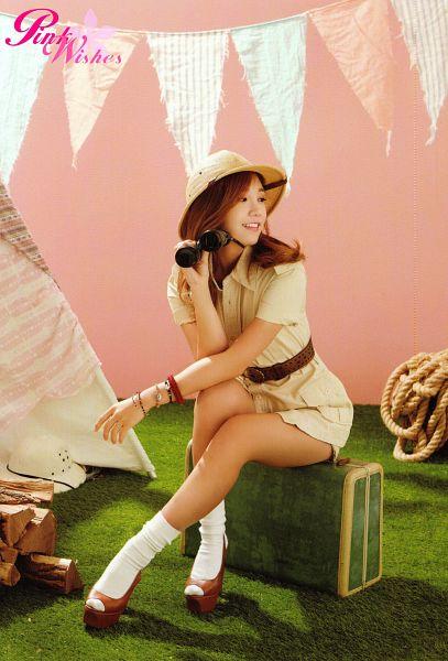 Tags: K-Pop, Apink, Jung Eun-ji, Map, Looking Away, Binoculars, Belt, Pink Island, Android/iPhone Wallpaper