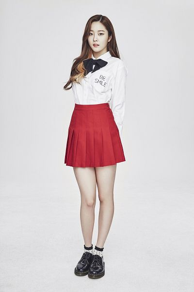 Tags: K-Pop, Pristin, Jung Eunwoo, Red Skirt, Arms Behind Back, Multi-colored Hair, Highlights, Full Body, Gray Background, Skirt, Android/iPhone Wallpaper