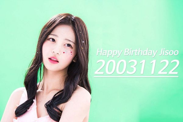 Tags: K-Pop, Busters, Jung Jisu, Looking Up, Text: Happy Birthday, Text: Calendar Date, English Text, Text: Artist Name, Wavy Hair, Green Background