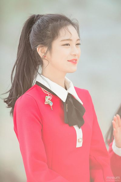 Tags: JTG Entertainment, K-Pop, Busters, Jung Jisu, Ponytail, Light Background, Looking Ahead, Teeth, Earrings, Red Outfit, Hair Up, Dress