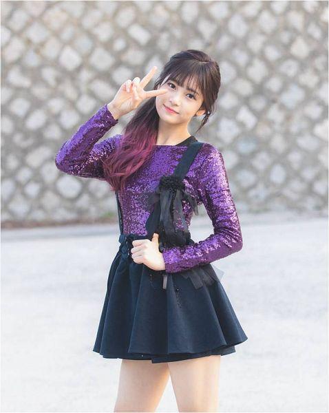 Tags: K-Pop, Busters, Grapes (Song), Jung Jisu, V Gesture, Hair Up, Skirt, Multi-colored Hair, Purple Shirt, Ponytail, Grin, Black Skirt