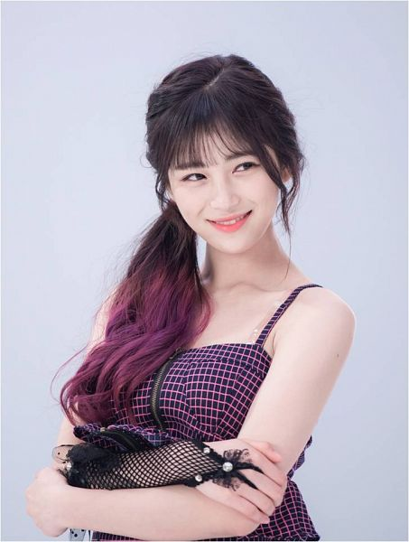 Tags: K-Pop, Busters, Grapes (Song), Jung Jisu, Bare Shoulders, Multi-colored Hair, Gray Background, Ponytail, Grin, Tank Top, Sleeveless, Hair Up