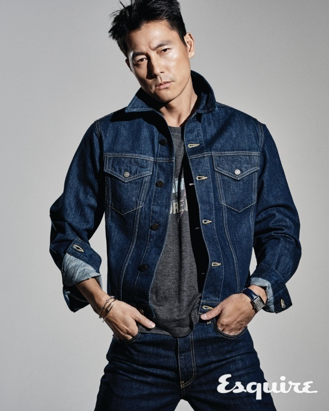 Tags: K-Drama, Jung Woosung, Hand In Pocket, Blue Outerwear, Blue Jacket, Looking Away, Blue Pants, Jeans, Denim Jacket, Gray Background, Bracelet, Watch