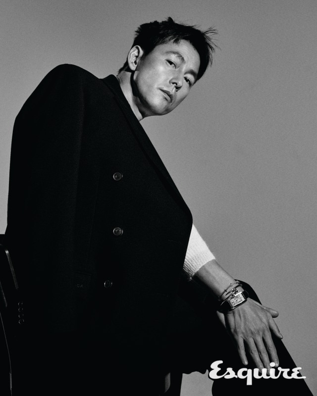 Tags: K-Drama, Jung Woosung, Watch, Coat, Text: Magazine Name, Monochrome, Looking Down, Gray Background, Esquire Magazine