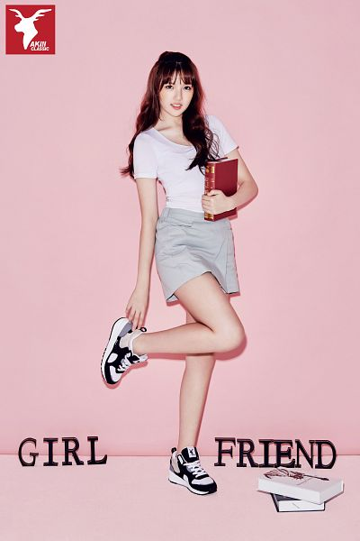 Tags: K-Pop, G-friend, Jung Yerin, Gray Skirt, Shoes, Standing On One Leg, Sneakers, Skirt, Book, Simple Background, Pink Background, Full Body