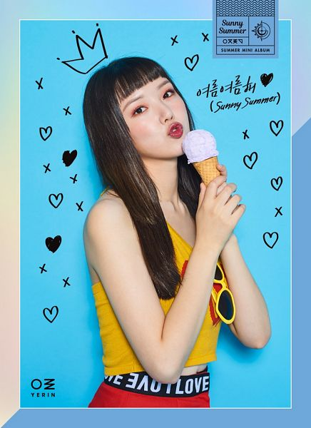 Tags: K-Pop, G-friend, Jung Yerin, Sunglasses, Red Lips, Sleeveless, Blue Background, Sweets, Bare Shoulders, Sleeveless Shirt, Ice Cream, Glasses