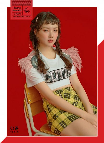 Tags: K-Pop, G-friend, Jung Yerin, Braids, Twin Braids, Make Up, Short Sleeves, Plaided Print, Serious, Red Background, Sunny Summer