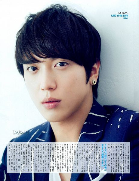 Tags: K-Pop, CNBLUE, Jung Yong-hwa, Japanese Text, Striped, Striped Shirt, Light Background, White Background, Magazine Scan, Scan, Android/iPhone Wallpaper