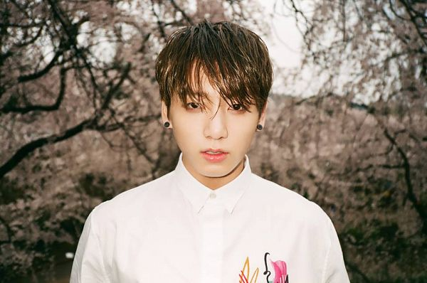 Tags: K-Pop, Bangtan Boys, Jungkook, Tree, Wet Hair, Black Eyes, Serious, Plant, Wet, The Most Beautiful Moment in Life pt.1