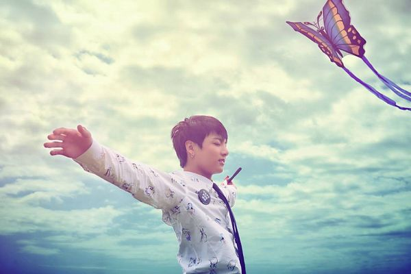 Tags: K-Pop, BTS, Jungkook, Side View, Arms Out, Eyes Closed, Tie, Clouds, The Most Beautiful Moment in Life: Young Forever
