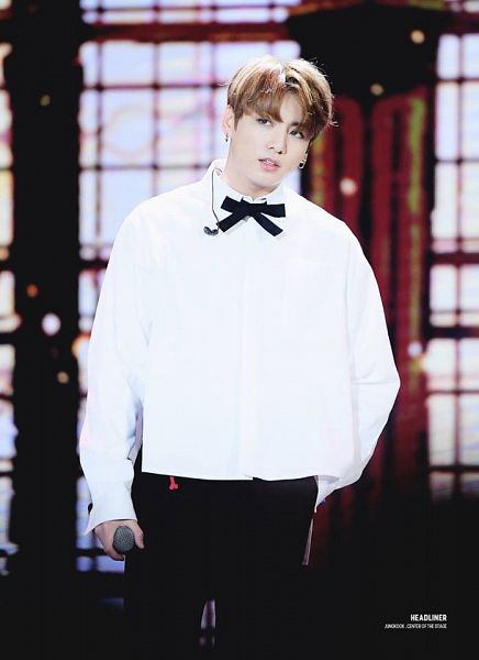 Tags: K-Pop, BTS, Jungkook, Bow, Black Pants, Black Bow, Hand In Pocket, Earbuds, Bow Tie, Stage, Contact Lenses