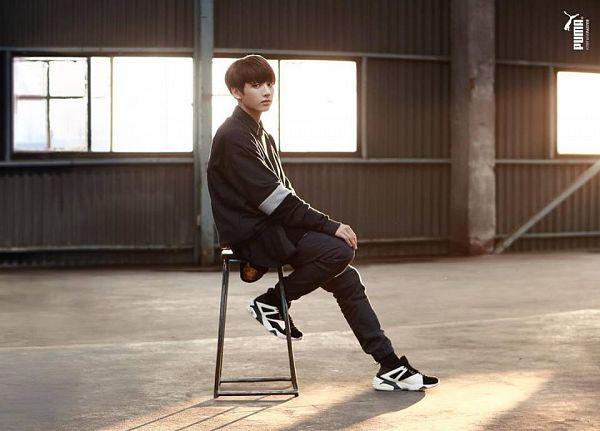 Tags: K-Pop, BTS, Jungkook, Black Shirt, Shoes, Chair, Sneakers, Black Pants, Stool, Puma