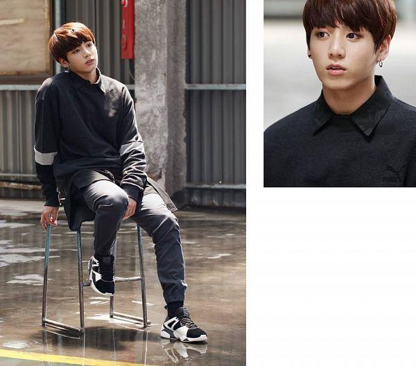 Tags: K-Pop, BTS, Jungkook, Chair, Black Pants, Stool, Puma