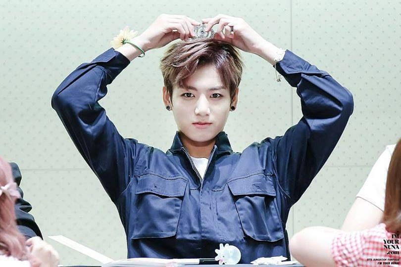 Tags: K-Pop, BTS, Jungkook, Pen, Headdress, Arms Up, Uniform, Crown, Blue Shirt, Bracelet, Fansigning Event