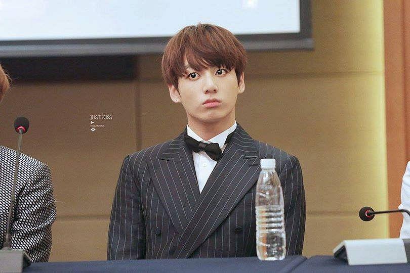 Tags: K-Pop, BTS, Jungkook, Striped, Striped Jacket, Black Jacket, Black Outerwear, Bottle, Bow Tie, Black Neckwear, Black Eyes, Suit