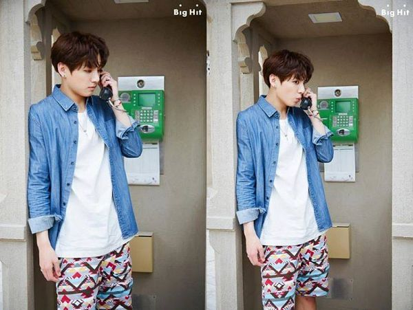Tags: K-Pop, BTS, Jungkook, Blue Outerwear, Phone, Shorts, Blue Jacket, BTS 2016 Summer Package