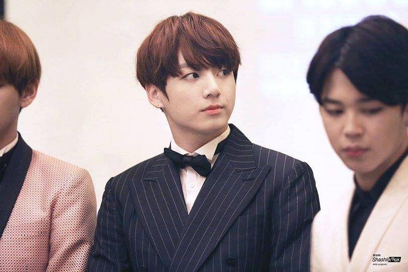 Tags: K-Pop, BTS, Jungkook, Looking Away, Striped Jacket, Black Eyes, Bow Tie, Black Outerwear, Suit, Black Neckwear, Striped, Black Jacket