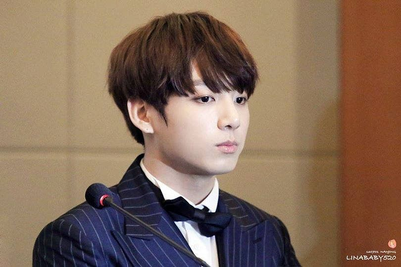 Tags: K-Pop, BTS, Jungkook, Black Jacket, Bow Tie, Striped Jacket, Black Eyes, Suit, Serious, Black Neckwear, Striped