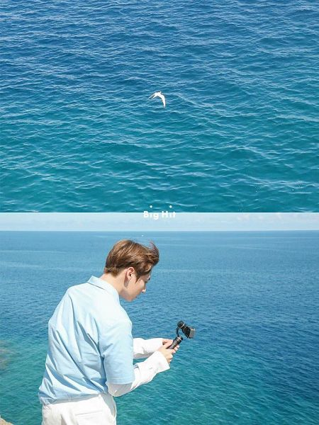 Tags: K-Pop, BTS, Jungkook, Sky, Wind, Camera, Water, Animal, Flowing Hair, Sea, Back, Day