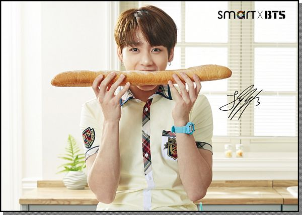 Tags: K-Pop, BTS, Jungkook, Window, School Uniform, Plant, Bread, Table, Eating, Watch, Kitchen, Wristwatch