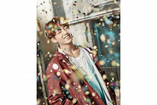 Tags: K-Pop, BTS, Jungkook, White Border, Hand In Pocket, Confetti, Grin, Eyes Closed, Collarbone, You Never Walk Alone