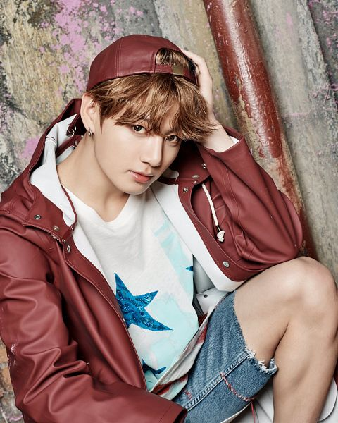 Tags: K-Pop, BTS, Jungkook, Hat, Red Jacket, Hood, Red Outerwear, Hand On Head, Star (Symbol), Red Headwear, Shorts, Star Print