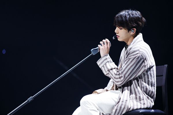 Tags: K-Pop, Television Show, BTS, Airplane pt.2, Jungkook, Coat, Striped, Chair, White Pants, Sitting On Chair, Dark Background, Eyes Closed