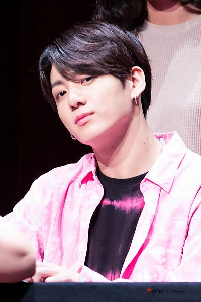 Tags: K-Pop, BTS, Jungkook, Close Up, Collar (Clothes), English Text, Pink Outerwear, Black Eyes, Pink Jacket, Twitter, Fansigning Event