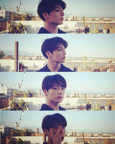 Tags: K-Pop, BTS, Jungkook, V Gesture, Outdoors, Collage, Plant, Side View, Day, Looking Away, City, Sky