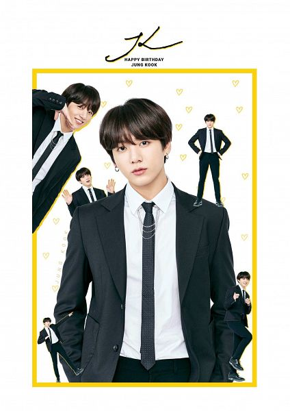 Tags: K-Pop, Bangtan Boys, Jungkook, Jacket, Text: Artist Name, English Text, Closed Mouth, Heart, Black Outerwear, Light Background, Tie, Black Pants