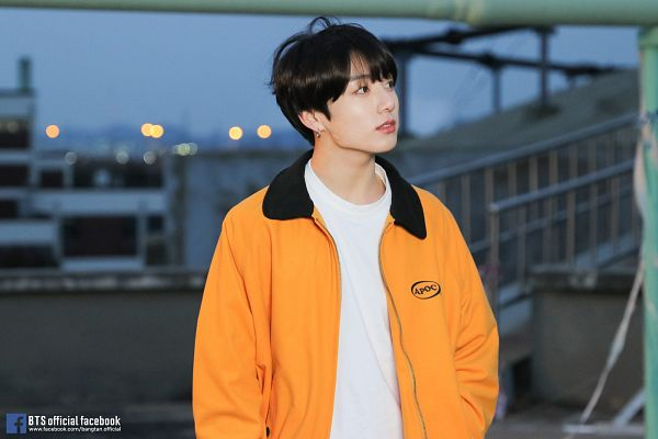 Tags: K-Pop, BTS, Euphoria, Jungkook, English Text, Outdoors, Sky, Hand In Pocket, Black Eyes, Looking Away, Text: URL, Text: Artist Name
