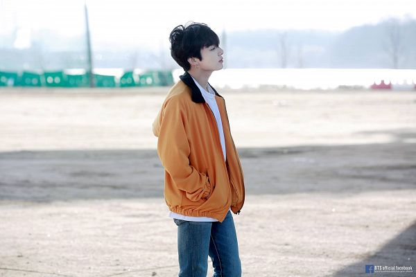 Tags: K-Pop, BTS, Euphoria, Jungkook, Hand In Pocket, Sky, Side View, Text: URL, Jeans, Text: Artist Name, Looking Ahead, English Text